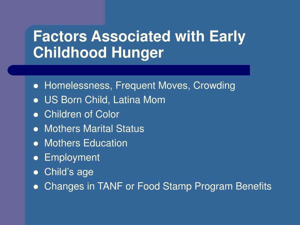 Factors Associated with Early Childhood Hunger