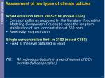 assessment of two types of climate policies
