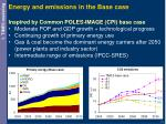 energy and emissions in the base case