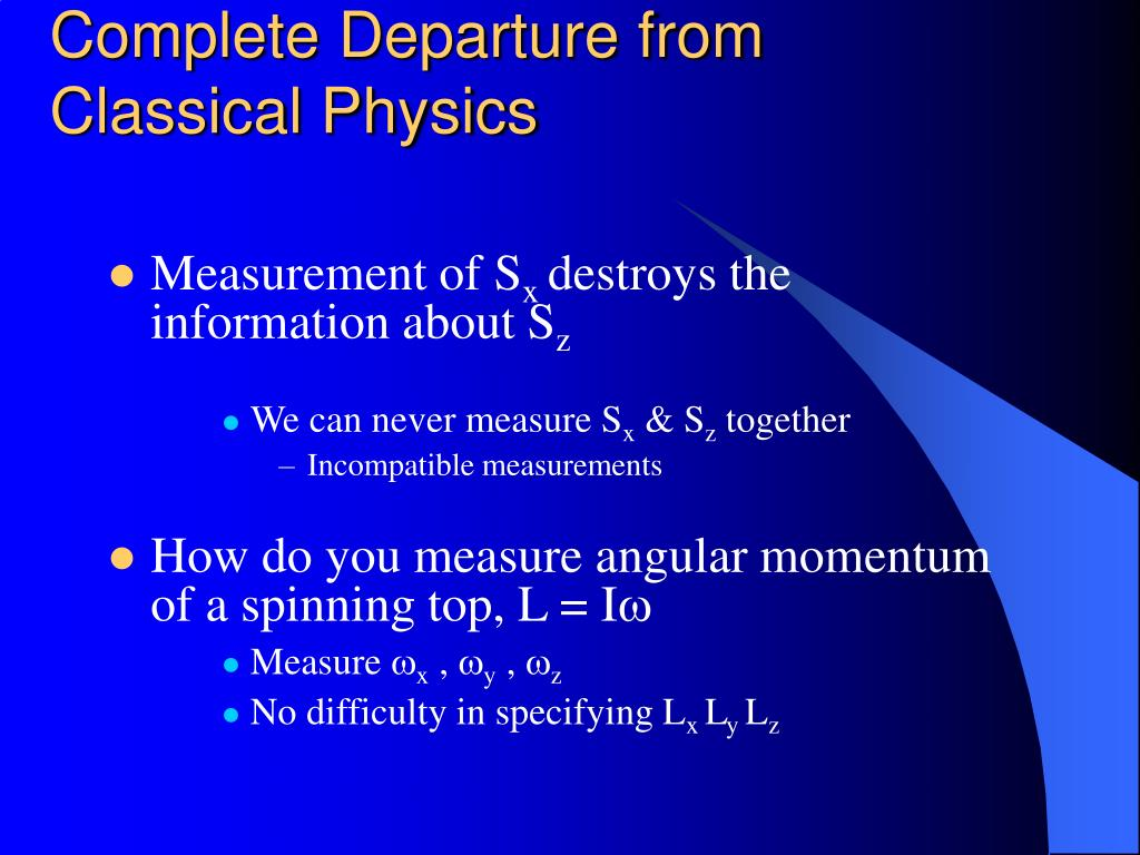 Complete Departure from Classical Physics
