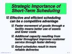 strategic importance of short term scheduling