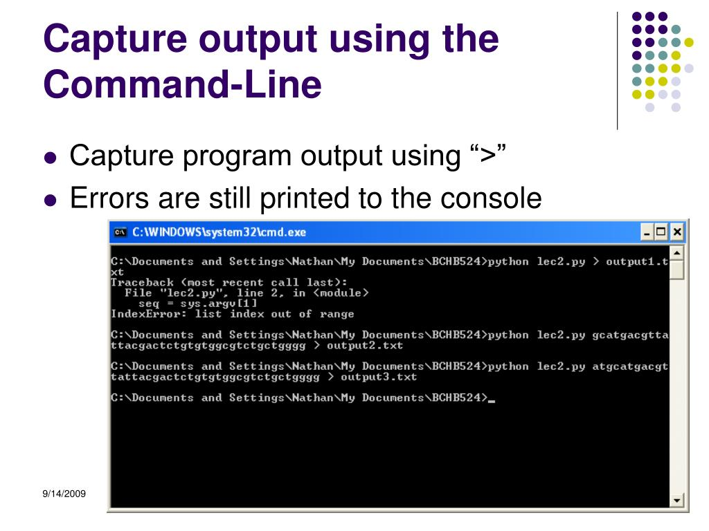 Capture output using the Command-Line