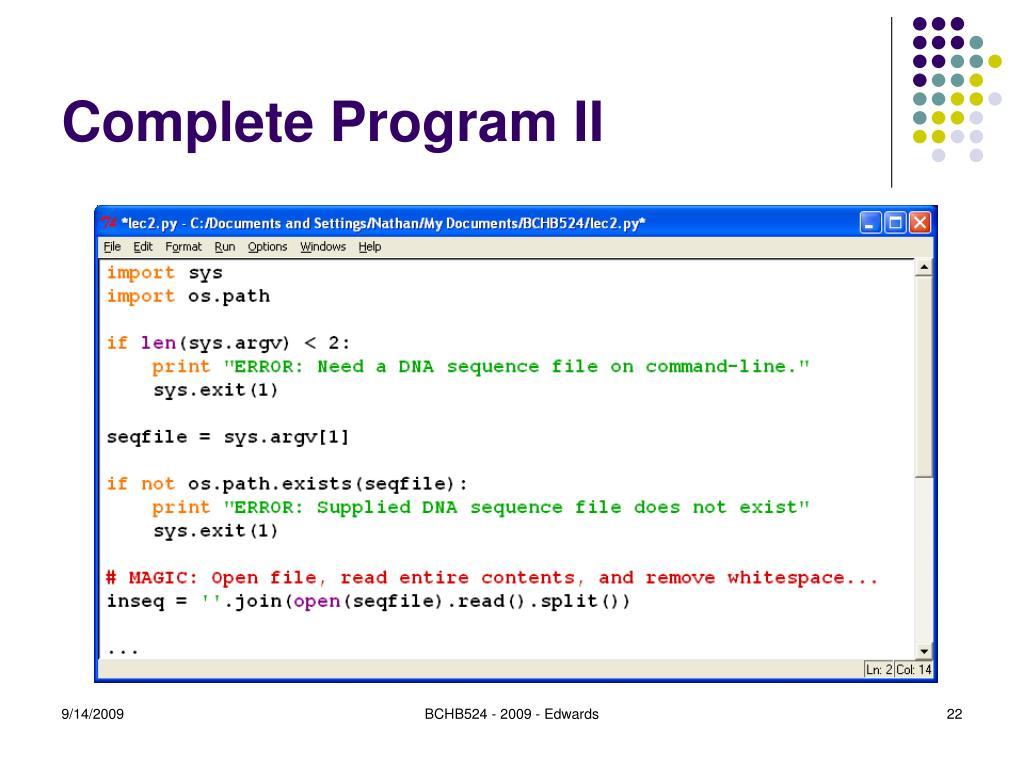 Complete Program II