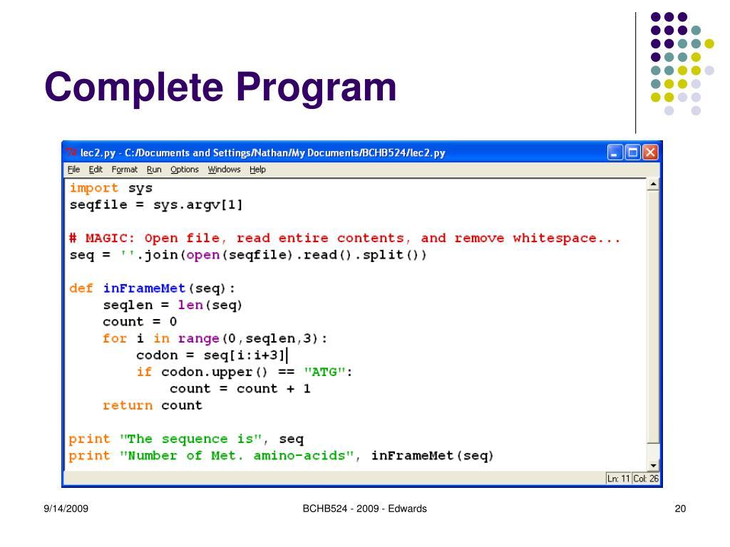 Complete Program