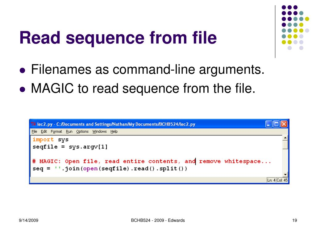 Read sequence from file