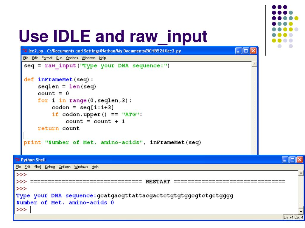 Use IDLE and raw_input