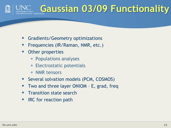 Gaussian 03/09 Functionality