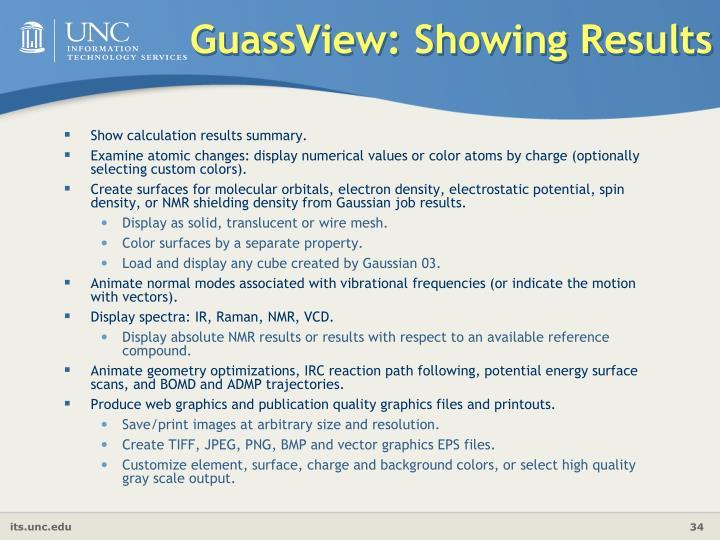 GuassView: Showing Results