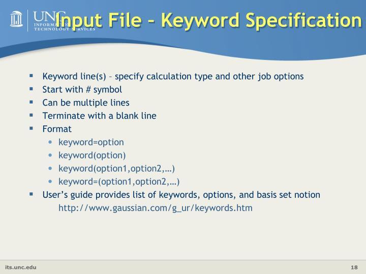 Input File – Keyword Specification