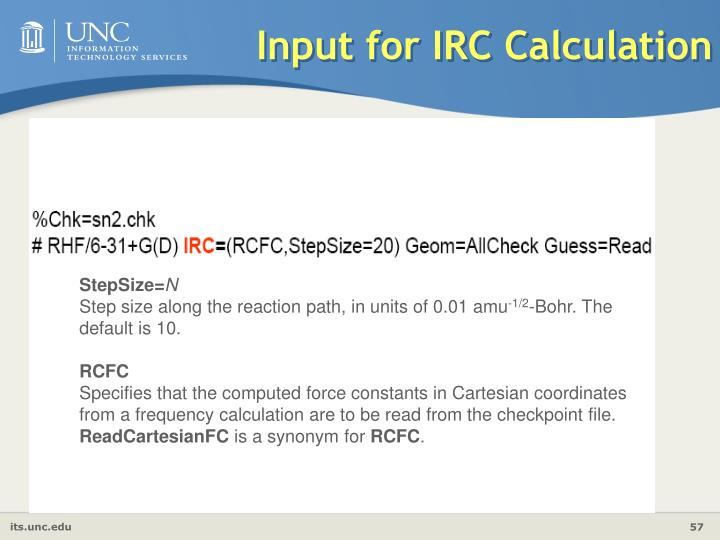 Input for IRC Calculation