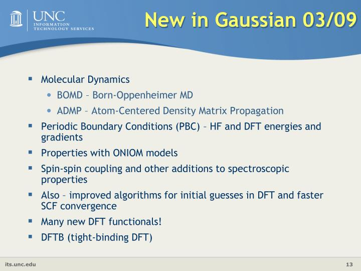 New in Gaussian 03/09