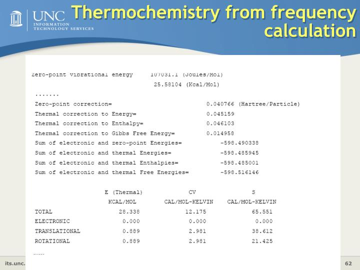 Thermochemistry from frequency calculation