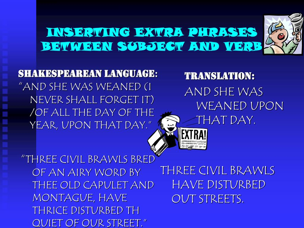 INSERTING EXTRA PHRASES BETWEEN SUBJECT AND VERB