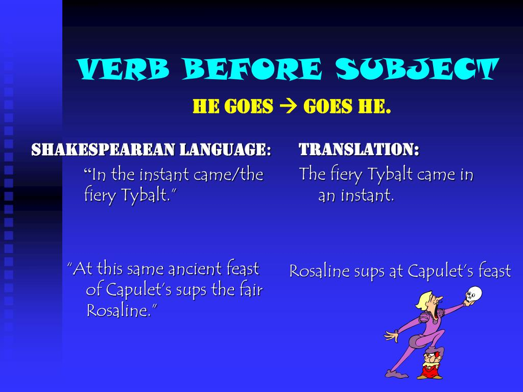 VERB BEFORE SUBJECT