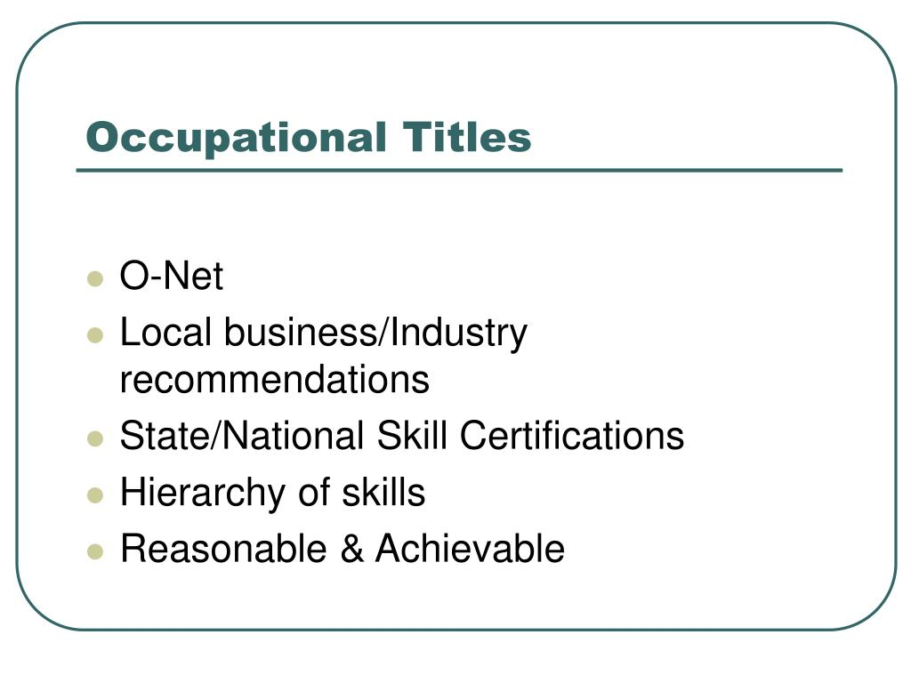 Occupational Titles