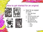 how to get started for an original