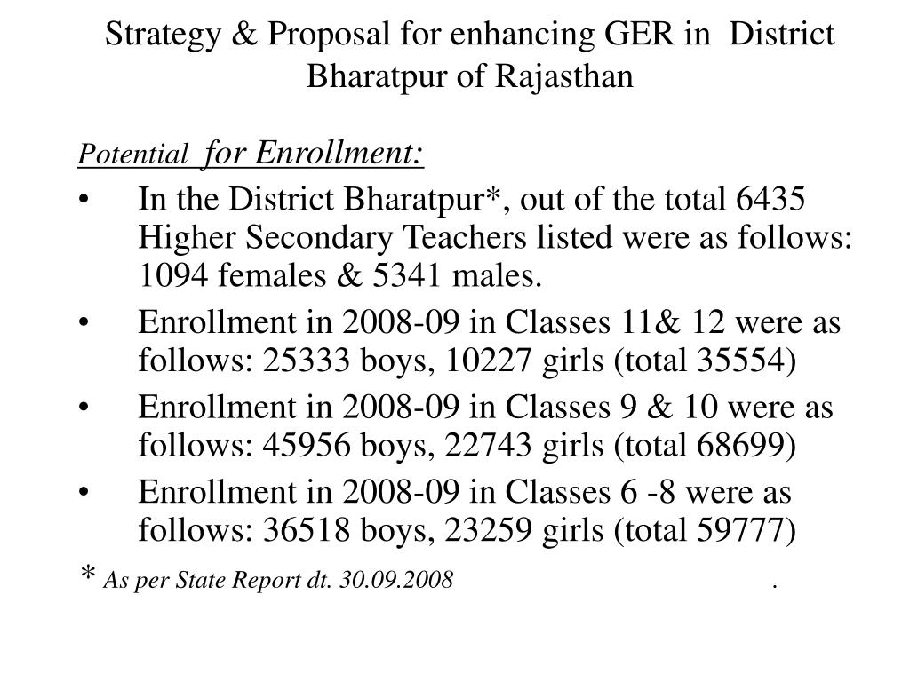 Strategy & Proposal for enhancing GER in  District Bharatpur of Rajasthan