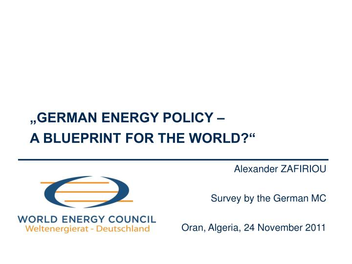 German energy policy a blueprint for the world