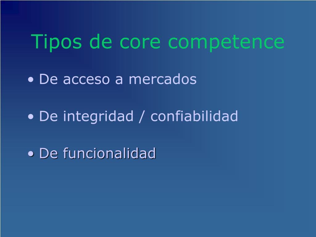 Tipos de core competence