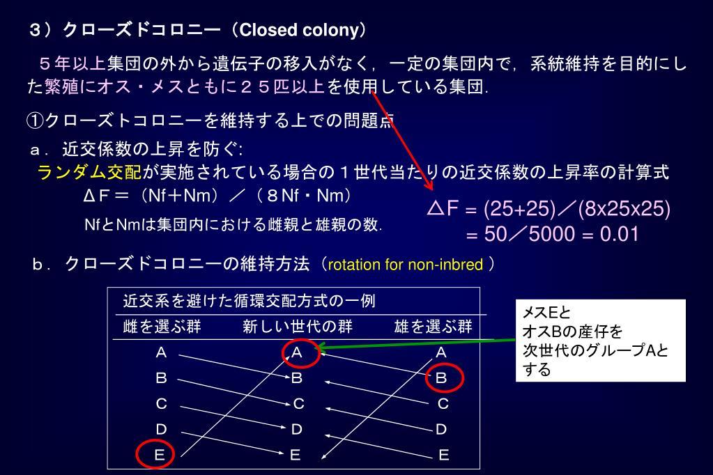 b.クローズドコロニーの維持方法(