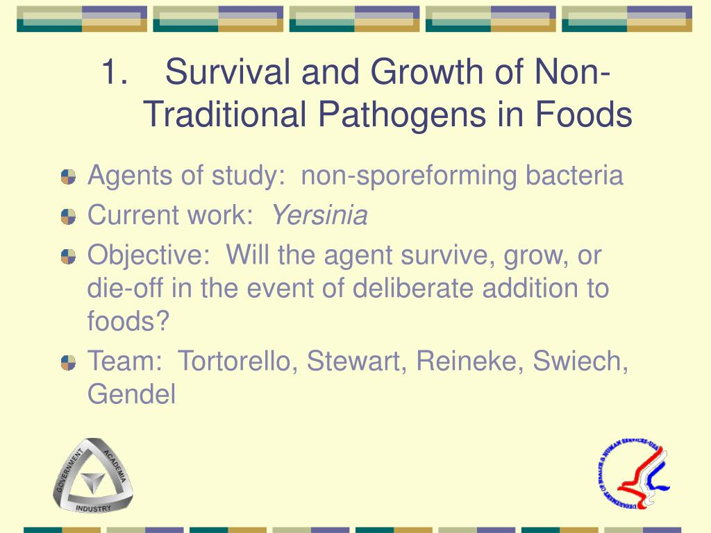 Survival and Growth of Non-Traditional Pathogens in Foods