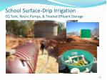 school surface drip irrigation eq tank recirc pumps treated effluent storage