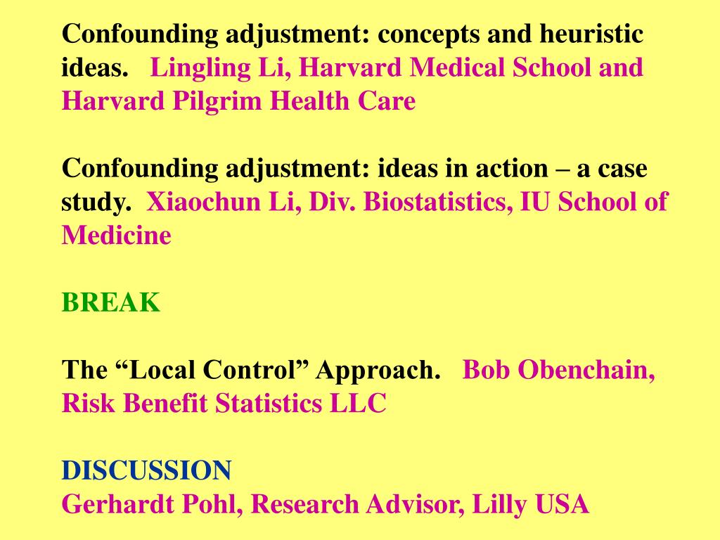 Confounding adjustment: concepts and heuristic ideas.