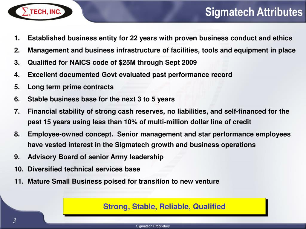 Sigmatech Attributes