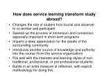 how does service learning transform study abroad