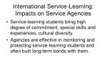 international service learning impacts on service agencies