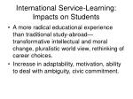 international service learning impacts on students