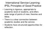 international service learning ipsl principles of good practice