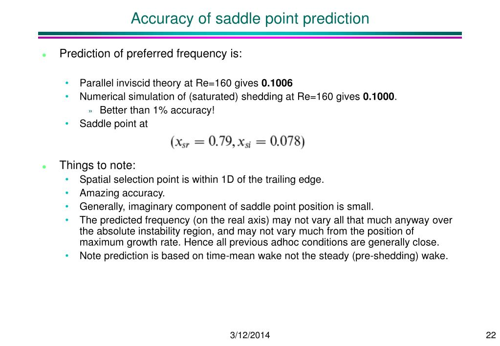 Accuracy of saddle point prediction