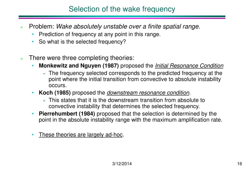 Selection of the wake frequency