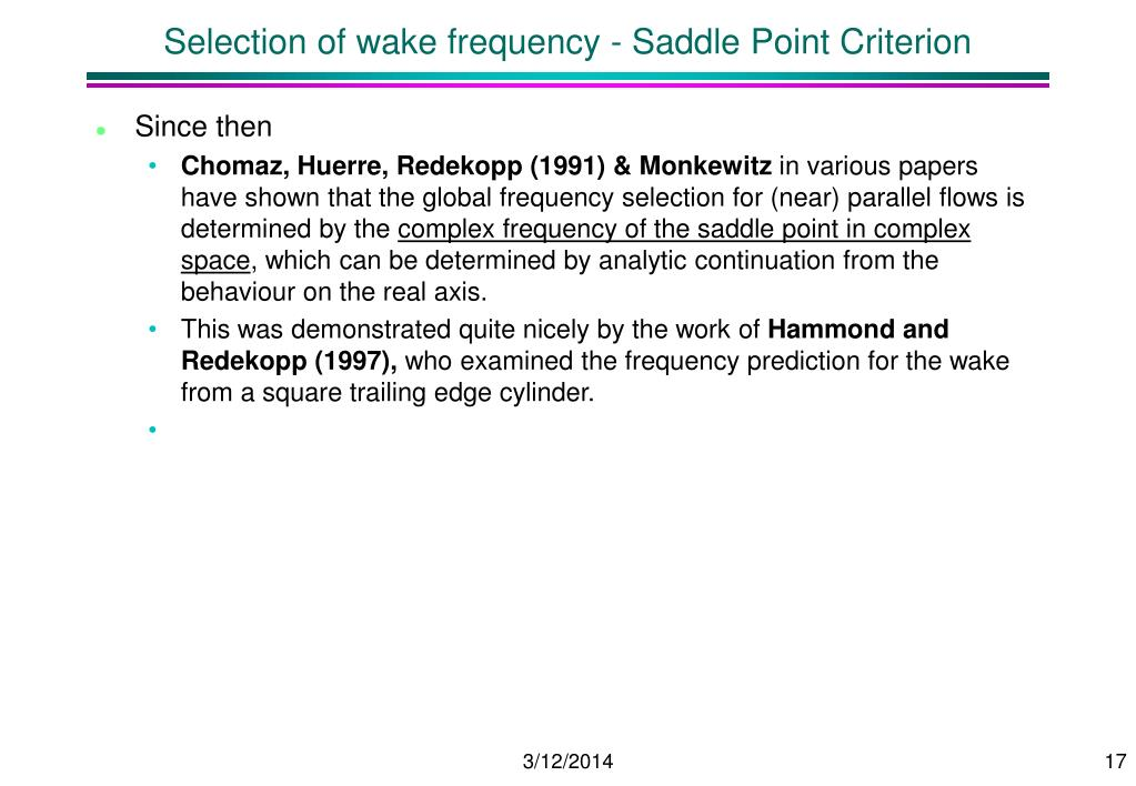 Selection of wake frequency - Saddle Point Criterion