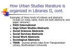 how urban studies literature is organized in libraries ii cont