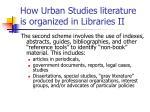 how urban studies literature is organized in libraries ii