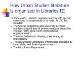 how urban studies literature is organized in libraries iii