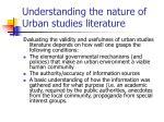 understanding the nature of urban studies literature