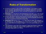 rules of transformation
