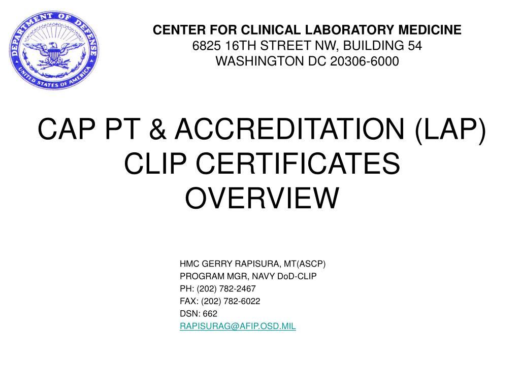 cap pt accreditation lap clip certificates overview l.