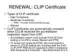 renewal clip certificate