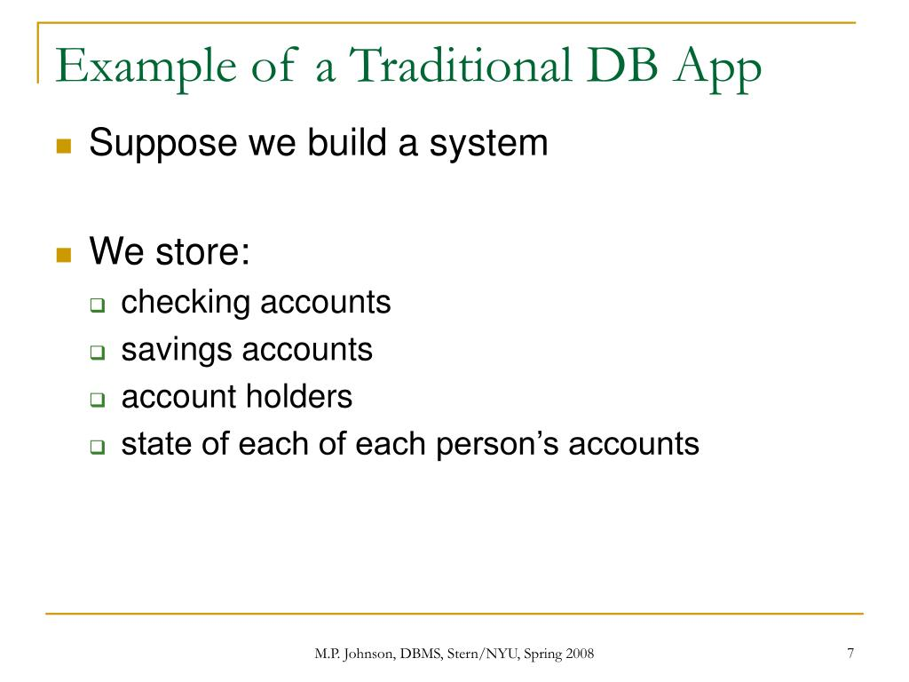 Example of a Traditional DB App