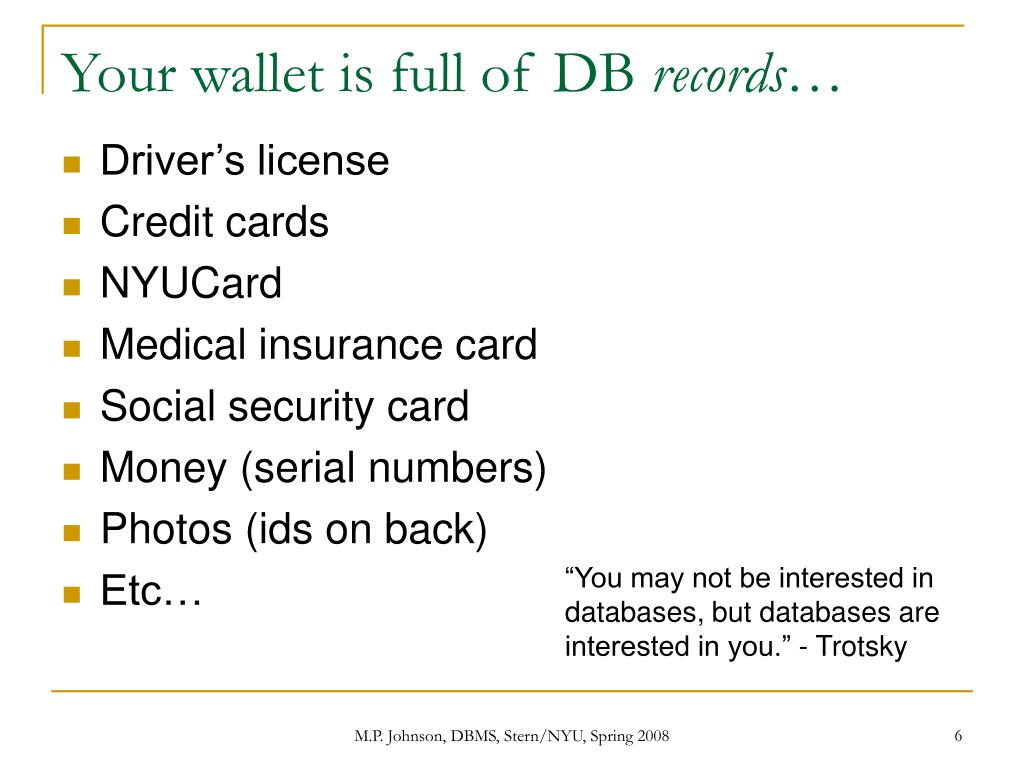 Your wallet is full of DB