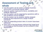 assessment of testing as a whole