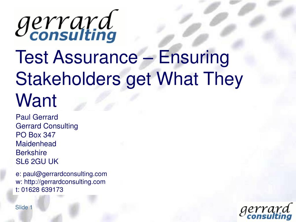 test assurance ensuring stakeholders get what they want l.