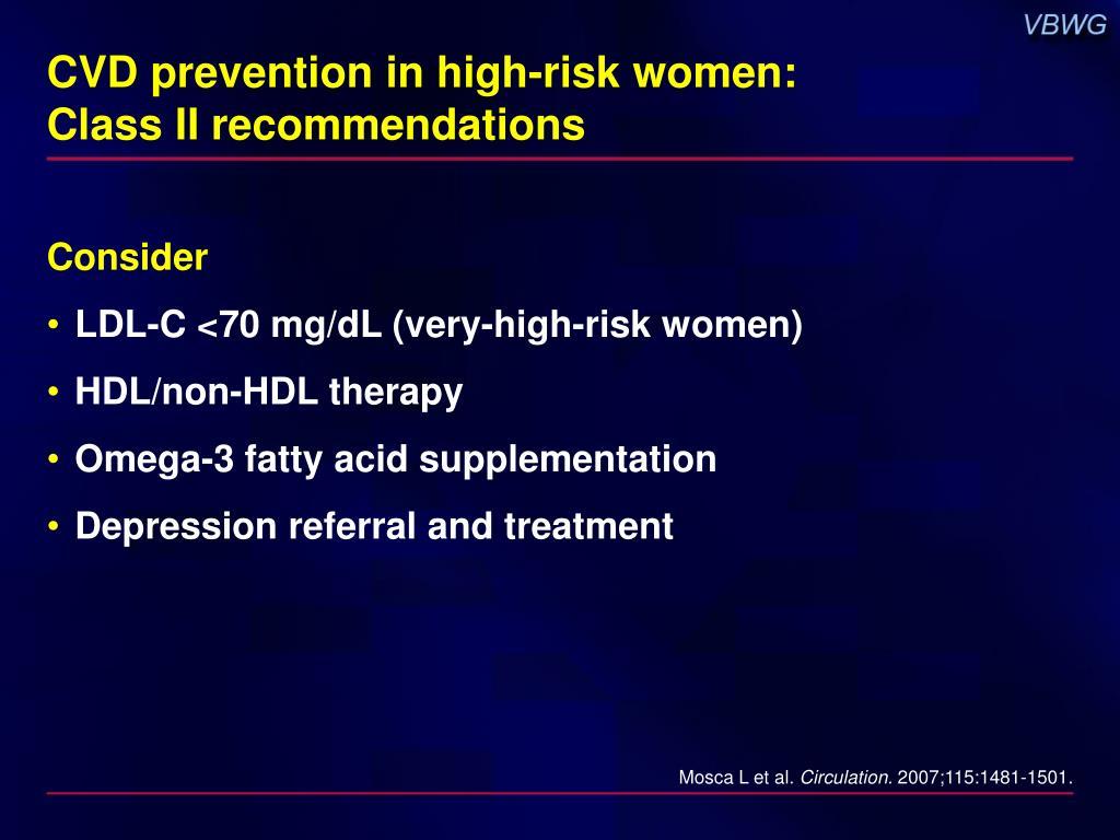 CVD prevention in high-risk women: