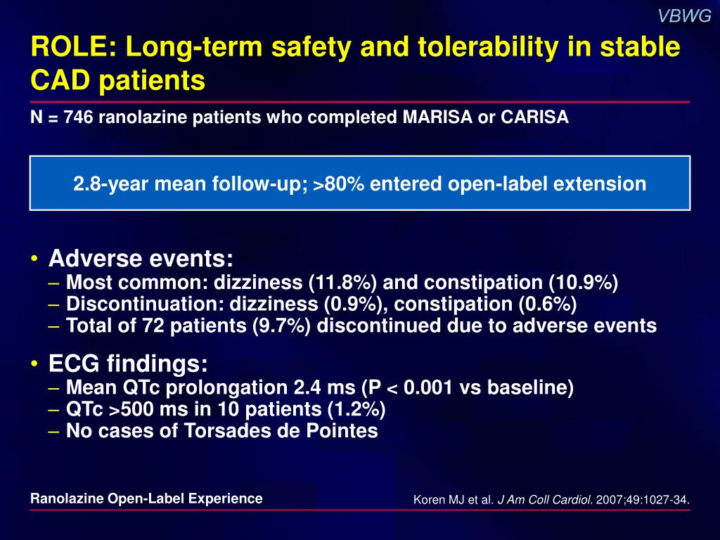 ROLE: Long-term safety and tolerability in stable CAD patients