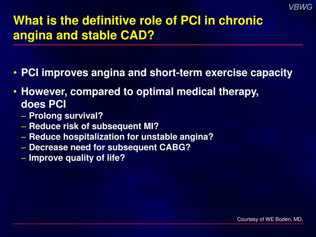 What is the definitive role of PCI in chronic angina and stable CAD?