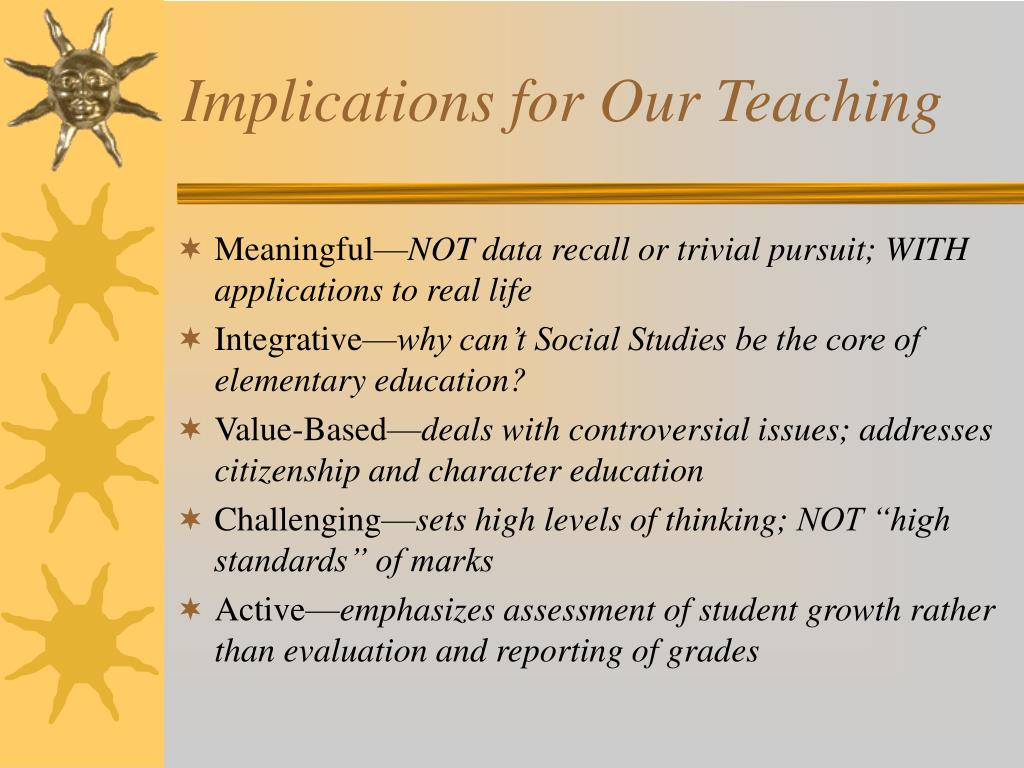 Implications for Our Teaching